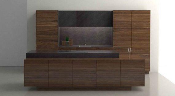 Küche Linee (Filigno) mit Abdeckplatte & Wange 1,2 cm und Arbeitsblock und rückspringendem Sockel